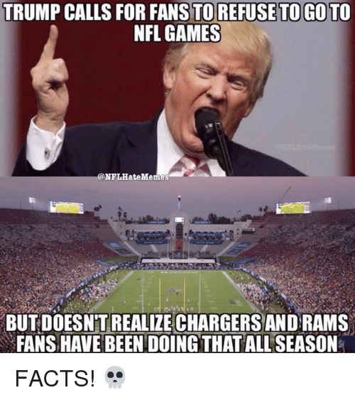 Facts, Nfl, and Chargers: TRUMP CALLS FOR FANS TO REFUSE TO GO TO  NFL GAMES  @NFLHateMe㎡  BUT DOESNT REALIZE CHARGERS AND RAMS  FANS HAVE BEEN DOINGTHAT ALL SEASON FACTS! 💀
