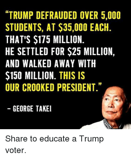 "Trump, George Takei, and President: ""TRUMP DEFRAUDED OVER 5,000  STUDENTS, AT $35,000 EACH  THAT'S $175 MILLION.  HE SETTLED FOR $25 MILLION,  AND WALKED AWAY WITH  $150 MILLION. THIS IS  OUR CROOKED PRESIDENT.""  GEORGE TAKEI Share to educate a Trump voter."