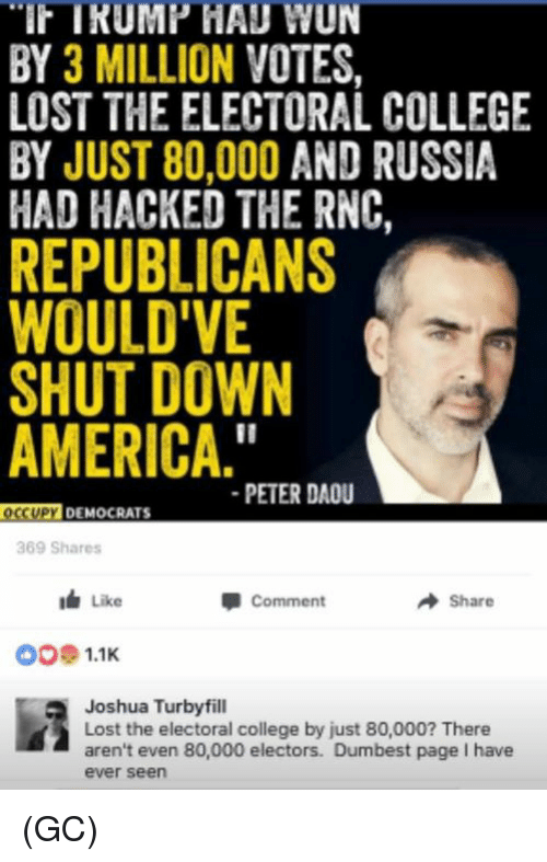 """College, Memes, and Russia: TRUMP HAUWUN  BY 3 MILLION VOTES.  LOST THE ELECTORAL COLLEGE  BY JUST 80,000 AND RUSSIA  HAD HACKED THE RNC,  REPUBLICANS  WOULD VE  SHUTDOWN  AMERICA.""""  PETER DAOU  OCCUPY DEMOCRATS  369 Shares  I Like  A Share  Comment  OO 1.1K  Joshua Turbyfill  Lost the electoral college by just 80,000? There  aren't even 80,000 electors. Dumbest page l have  ever seen (GC)"""