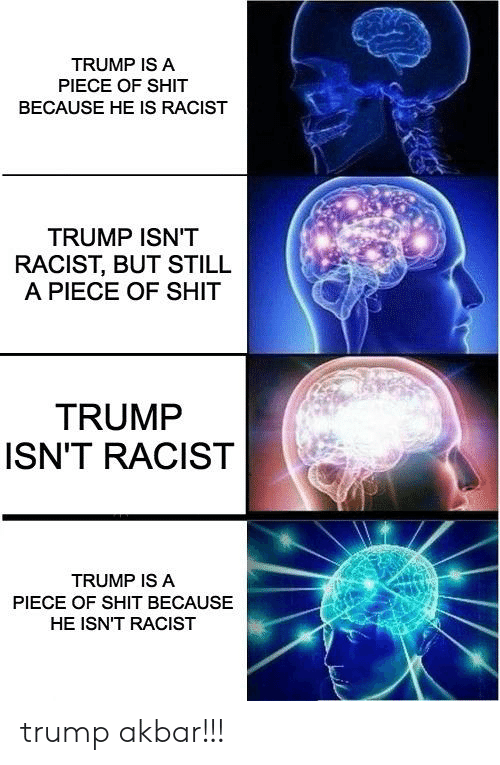 Racist Trump: TRUMP IS A  PIECE OF SHIT  BECAUSE HE IS RACIST  TRUMP ISN'T  RACIST, BUT STILL  A PIECE OF SHIT  TRUMP  ISN'T RACIST  TRUMP IS A  PIECE OF SHIT BECAUSE  HE ISN'T RACIST trump akbar!!!