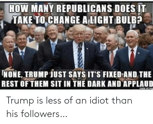 Idiot: Trump is less of an idiot than his followers…