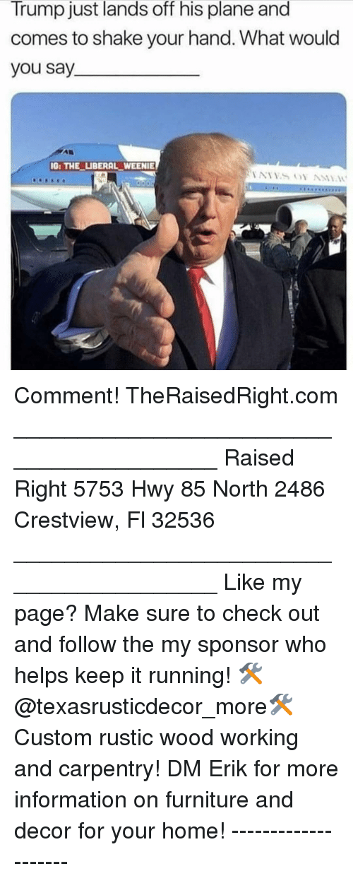 Memes, Furniture, and Home: Trump just lands off his plane and  comes to shake your hand. What would  you say  G: THE LIBERAL WEENIE Comment! TheRaisedRight.com _________________________________________ Raised Right 5753 Hwy 85 North 2486 Crestview, Fl 32536 _________________________________________ Like my page? Make sure to check out and follow the my sponsor who helps keep it running! 🛠@texasrusticdecor_more🛠 Custom rustic wood working and carpentry! DM Erik for more information on furniture and decor for your home! --------------------