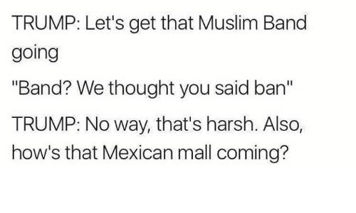 "Muslim Band: TRUMP: Let's get that Muslim Band  going  ""Band? We thought you said ban""  TRUMP: No way, that's harsh. Also,  how's that Mexican mall coming?"