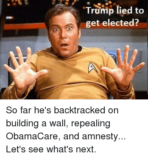 """Trump Lies: """"Trump lied to  get elected? So far he's backtracked on building a wall, repealing ObamaCare, and amnesty... Let's see what's next."""