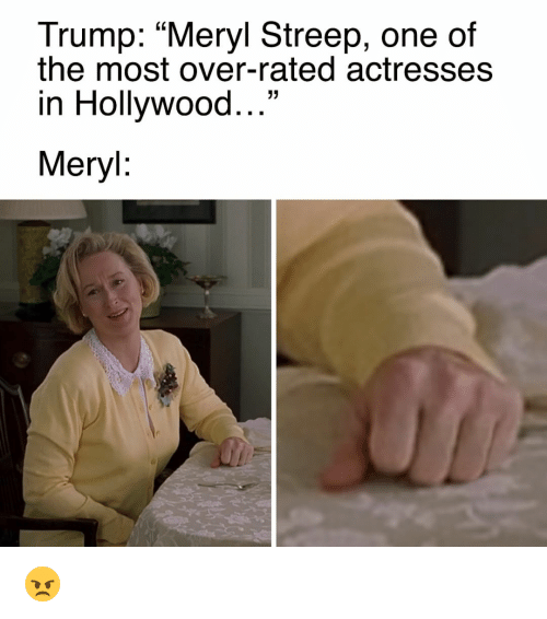 "Memes, Meryl Streep, and 🤖: Trump: ""Meryl Streep, one of  the most over-rated actresses  in Hollywood  33  Meryl 😠"