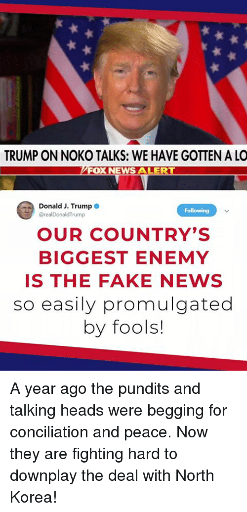 Fake, News, and North Korea: TRUMP ON NOKO TALKS: WE HAVE GOTTEN A LO  FOX NEWS ALERT  Donald J. Trump  @realDonaldTrump  Fo  OUR COUNTRY'S  BIGGEST ENEMY  IS THE FAKE NEWS  so easily promulgated  by fools! A year ago the pundits and talking heads were begging for conciliation and peace. Now they are fighting hard to downplay the deal with North Korea!