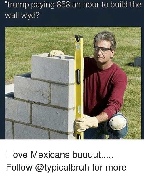 """Memes, Wyd, and 🤖: 'trump paying 85S an hour to build the  Wall wyd?"""" I love Mexicans buuuut..... Follow @typicalbruh for more"""