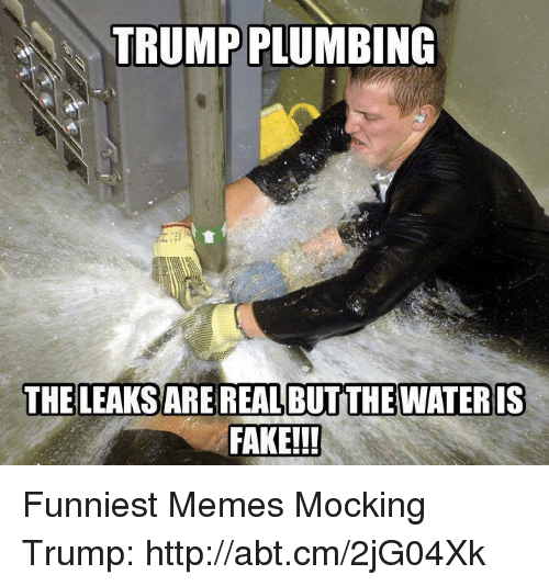 Fake, Memes, and Http: TRUMP PLUMBING  THE LEAKS ARE REAL BUTITHE WATER IS  FAKE!! Funniest Memes Mocking Trump: http://abt.cm/2jG04Xk