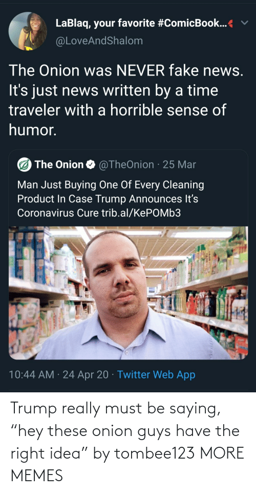 """Onion: Trump really must be saying, """"hey these onion guys have the right idea"""" by tombee123 MORE MEMES"""