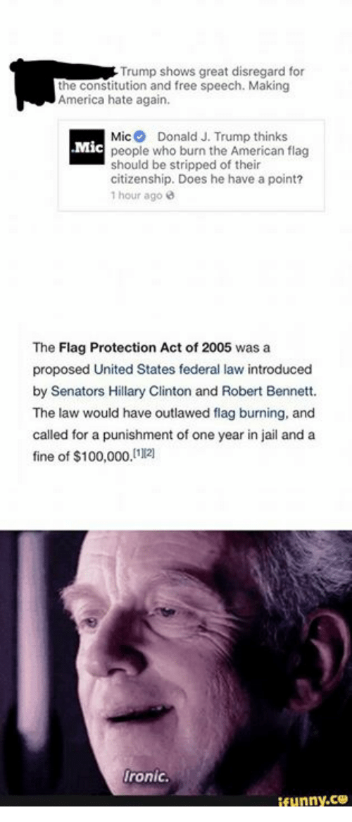 flag burning should be outlawed in america No it should not be, and cannot become, illegal the reason the answer is no is the very same reason that so many americans recoil in horror from the burning of the flag: the symbolic meaning of such an act.