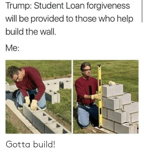 build-the-wall: Trump: Student Loan forgiveness  will be provided to those who help  build the wall.  Me: Gotta build!