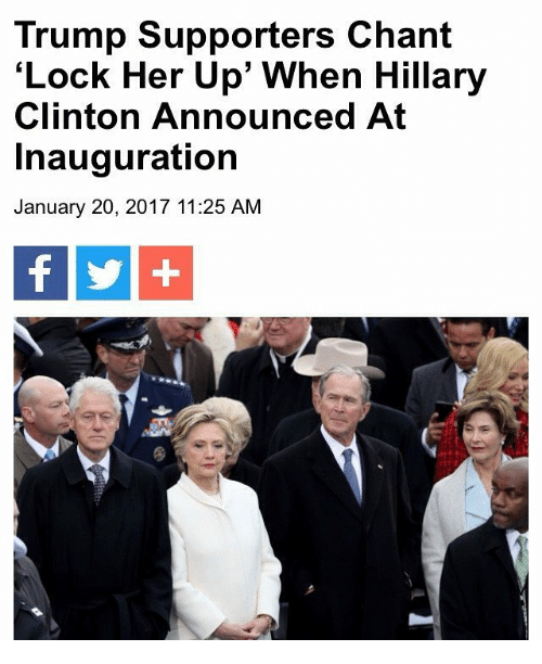 """Hillary Clinton Announcement: Trump Supporters Chant  Lock Her Up"""" When Hillary  Clinton Announced At  Inauguration  January 20, 2017 11:25 AM"""