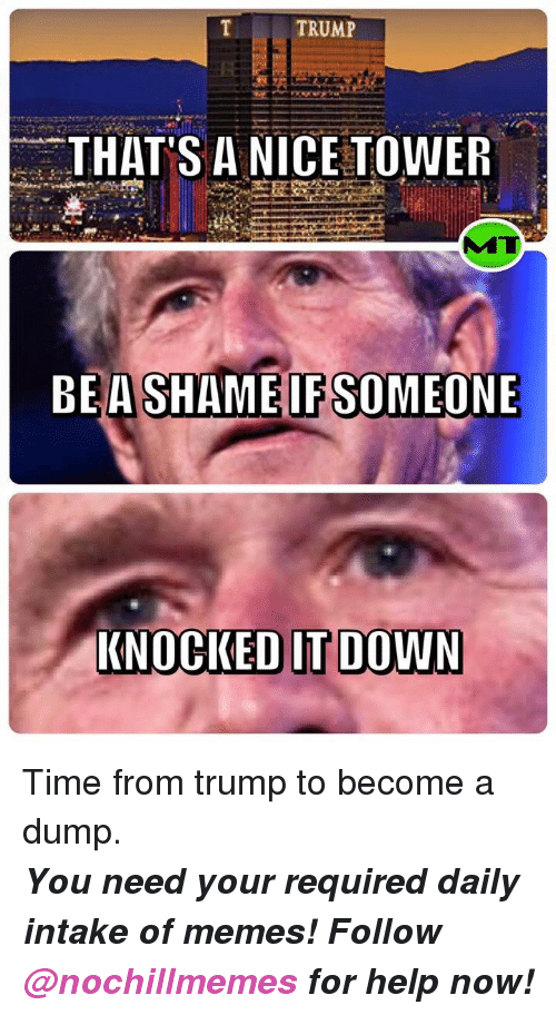 Trump: TRUMP  THAT'S A NICE TOWER  BEASHAMEIFSOMEONE  KNOCKED IT DOWN <p>Time from trump to become a dump.</p><p><b><i>You need your required daily intake of memes! Follow <a>@nochillmemes</a> for help now!</i></b><br/></p>