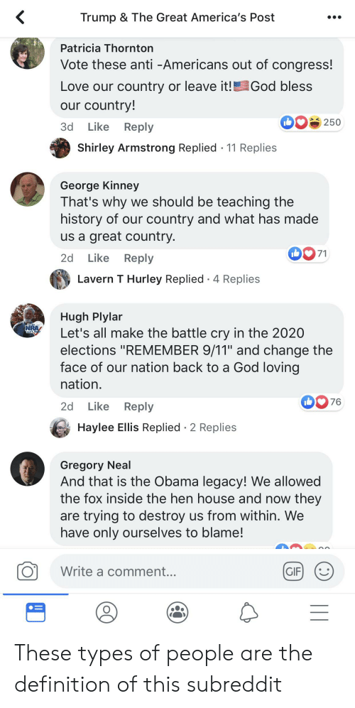 """Obama Legacy: Trump & The Great America's Post  Patricia Thornton  Vote these anti -Americans out of congress!  God bless  Love our country or leave it!!  our country!  250  Like  3d  Reply  Shirley Armstrong Replied 11 Replies  George Kinney  That's why we should be teaching the  history of our country and what has made  us a great country.  71  Like  2d  Reply  Lavern T Hurley Replied 4 Replies  Hugh Plylar  Let's all make the battle cry in the 2020  elections """"REMEMBER 9/11"""" and change the  face of our nation back to a God loving  nation.  NRA  GdV  76  Like  Reply  2d  Haylee Ellis Replied 2 Replies  Gregory Neal  And that is the Obama legacy! We allowed  the fox inside the hen house and now they  are trying to destroy us from within. We  have only ourselves to blame!  Write a comment...  GIF  I1 These types of people are the definition of this subreddit"""