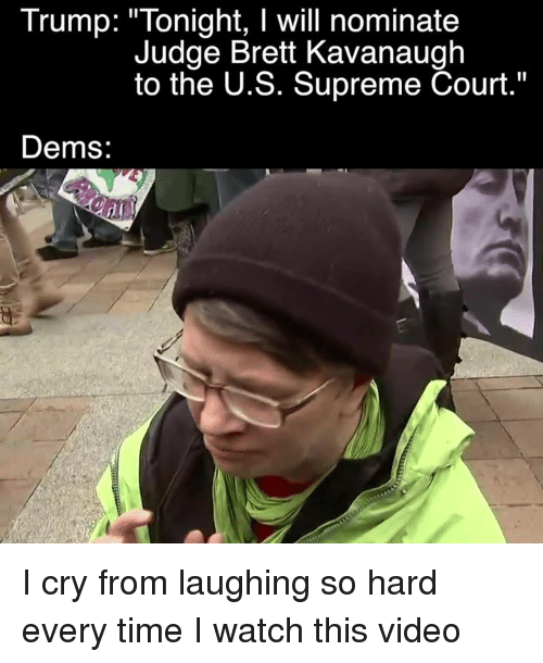 "Memes, Supreme, and Supreme Court: Trump: ""Tonight, I will nominate  Judge Brett Kavanaugh  to the U.S. Supreme Court.""  Dems I cry from laughing so hard every time I watch this video"