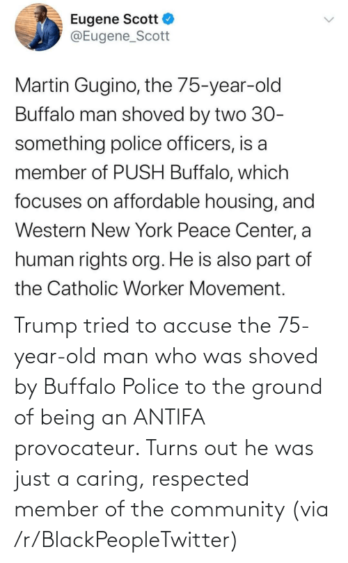 Trump: Trump tried to accuse the 75-year-old man who was shoved by Buffalo Police to the ground of being an ANTIFA provocateur. Turns out he was just a caring, respected member of the community (via /r/BlackPeopleTwitter)