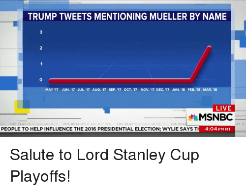 stanley cup playoffs: TRUMP TWEETS MENTIONING MUELLER BY NAME  3  2  0  MAY '17 JUN. 17 JUL. '17 AUG. '17 SEP. '17 OCT. '17 NOV. '17 DEC. '17 JAN. '18 FEB. '18 MAR. 18  LIVE  MSNBC  H 4:04 PM MT  ER  THE BEAT WITH ARI MELBER THE BEAT WITH ARI MELBER THE BEAT WITH ARI MELBER THE BEA  PEOPLE TO HELP INFLUENCE THE 2016 PRESIDENTIAL ELECTION; WYLIE SAYS T  AT WI