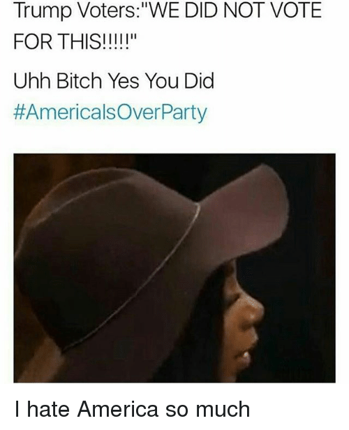 """Trump Voters: Trump Voters: """"WE DID NOT VOTE  FOR THIS!  Uhh Bitch Yes You Did  #Americals Over Party I hate America so much"""