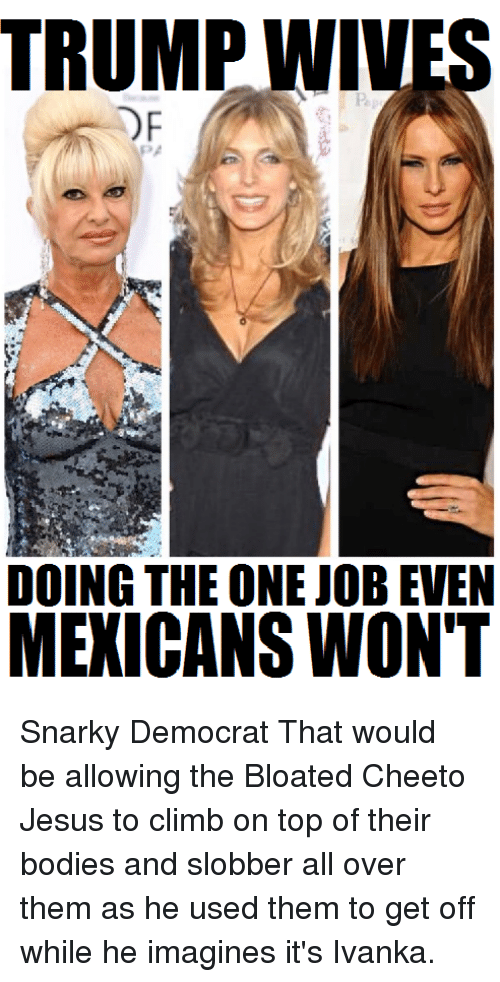 cheeto jesus: TRUMP WIVES  DF  DOING THE ONE JOB EVEN  MEXICANS WON'T Snarky Democrat  That would be allowing the Bloated Cheeto Jesus to climb on top of their bodies and slobber all over them as he used them to get off while he imagines it's Ivanka.
