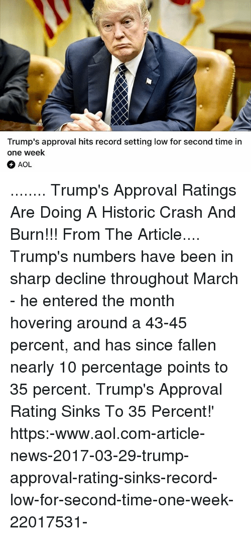 Trump Approval Rating: Trump's approval hits record setting low for second time in  one week  AOL ........ Trump's Approval Ratings Are Doing A Historic Crash And Burn!!! From The Article.... Trump's numbers have been in sharp decline throughout March - he entered the month hovering around a 43-45 percent, and has since fallen nearly 10 percentage points to 35 percent. Trump's Approval Rating Sinks To 35 Percent!' https:-www.aol.com-article-news-2017-03-29-trump-approval-rating-sinks-record-low-for-second-time-one-week-22017531-