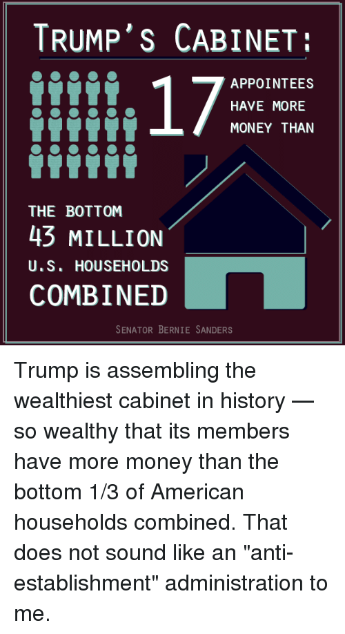 "Memes and 🤖: TRUMP'S CABINET:  17  APPOINTEES  HAVE MORE  MONEY THAN  THE BOTTOM  43 MILLION  U.S. HOUSEHOLDS  COMBINED  SENATOR BERNIE SANDERS Trump is assembling the wealthiest cabinet in history — so wealthy that its members have more money than the bottom 1/3 of American households combined. That does not sound like an ""anti-establishment"" administration to me."