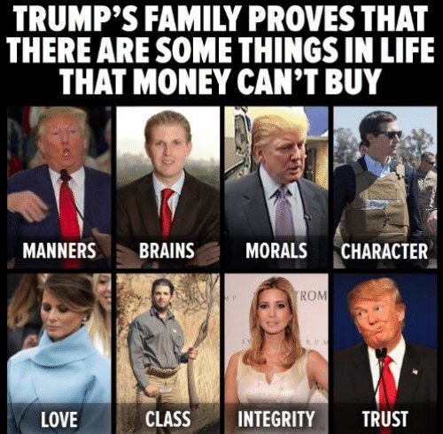 Money Cant Buy: TRUMP'S FAMILY PROVES THAT  THERE ARE SOME THINGS IN LIFE  THAT MONEY CAN'T BUY  MANNERS BRAINS MORALS CHARACTER  ROM  LOVE  CLASSINTEGRITY TRUST