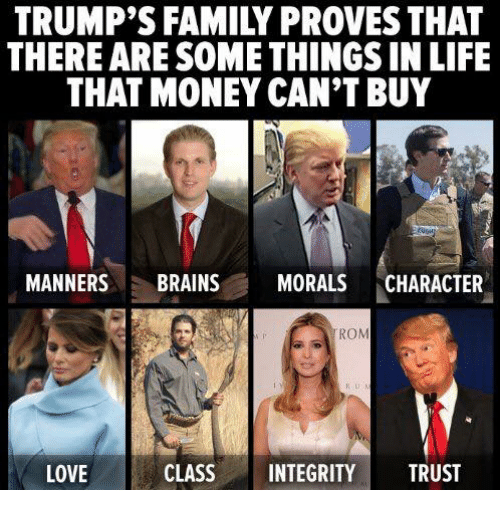 Brains, Family, and Life: TRUMP'S FAMILY PROVESTHAT  THERE ARE SOME THINGS IN LIFE  THAT MONEY CAN'T BUY  MANNERS  BRAINS  MORALS  CHARACTER  ROM  LOVE  CLASS  INTEGRITY  TRUST