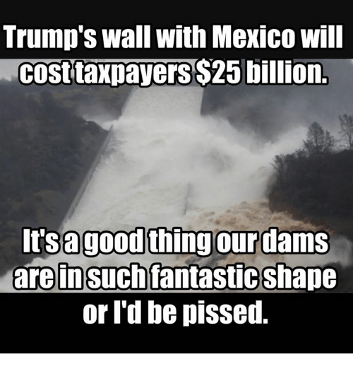 Trumps Wall: Trump's wall with Mexico Will  Cost taxpayersS25 billion.  Its a good thing our dams  are insuch fantasticShape  or I'd be piSsed.