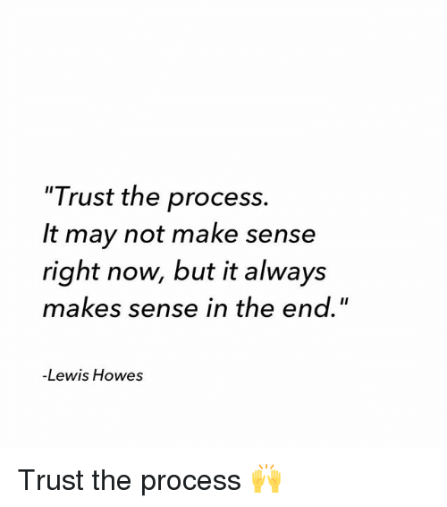 "Procession: ""Trust the process.  It may not make sense  right now, but it always  makes sense in the end.""  -Lewis Howes Trust the process 🙌"