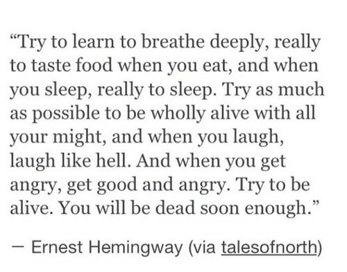 """Ernest: """"Try to learn to breathe deeply, really  to taste food when you eat, and when  you sleep, really to sleep. Try as much  as possible to be wholly alive with all  your might, and when you laugh,  laugh like hell. And when you get  angry, get good and angry. Try to be  alive. You will be dead soon enough.""""  Ernest Hemingway (via talesofnorth)"""
