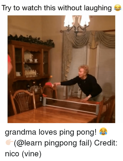 Fail, Grandma, and Memes: Try to watch this without laughing grandma loves ping pong! 😂 👉🏻(@learn pingpong fail) Credit: nico (vine)