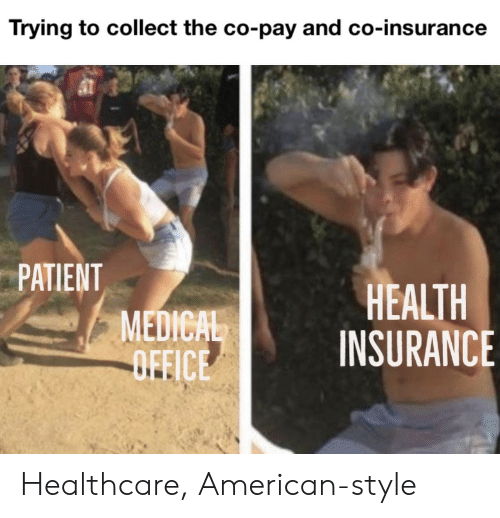 Health Insurance: Trying to collect the co-pay and co-insurance  PATIENT  MEDICAL  OFFICE  HEALTH  INSURANCE Healthcare, American-style