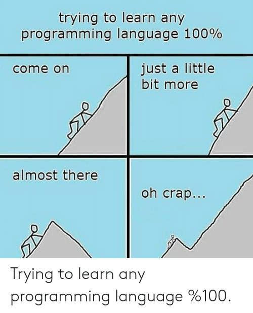 ming: trying to learn any  progra m ming language 100%  just a little  bit more  come on  almost there  oh crap.. Trying to learn any programming language %100.