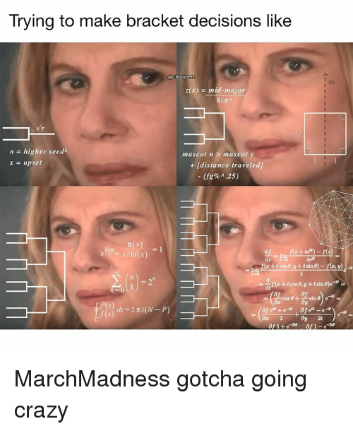 Memes, 🤖, and Major: Trying to make bracket decisions like  CBS Sports  z(x)  mid-major  n higher seed2  mascot n mascot y  x upset  /distance traveledl  nt(x)  In(r)  cos0+  sine e MarchMadness gotcha going crazy