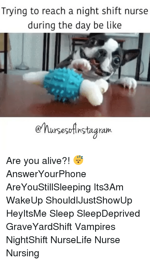 Memes, Nursing, and Vampires: Trying to reach a night shift nurse  during the day be like  nursesoAnstagram. Are you alive?! 😴 AnswerYourPhone AreYouStillSleeping Its3Am WakeUp ShouldIJustShowUp HeyItsMe Sleep SleepDeprived GraveYardShift Vampires NightShift NurseLife Nurse Nursing