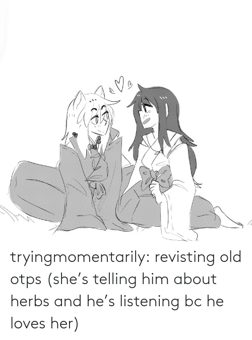 listening: tryingmomentarily: revisting old otps (she's telling him about herbs and he's listening bc he loves her)