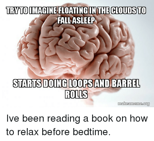 reading a book: TRYTOIMAGINE FLOATING IN THE CLOUDS TO  FALL ASLEEP  STARTSDOING LOOPS AND BARREL  ROLLS  makeameme.org Ive been reading a book on how to relax before bedtime.