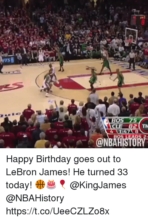 Birthday, LeBron James, and Happy Birthday: TS  BOS 75  CLE 82  @NBAHISTORY Happy Birthday goes out to LeBron James! He turned 33 today! 🏀🎂🎈 @KingJames @NBAHistory https://t.co/UeeCZLZo8x