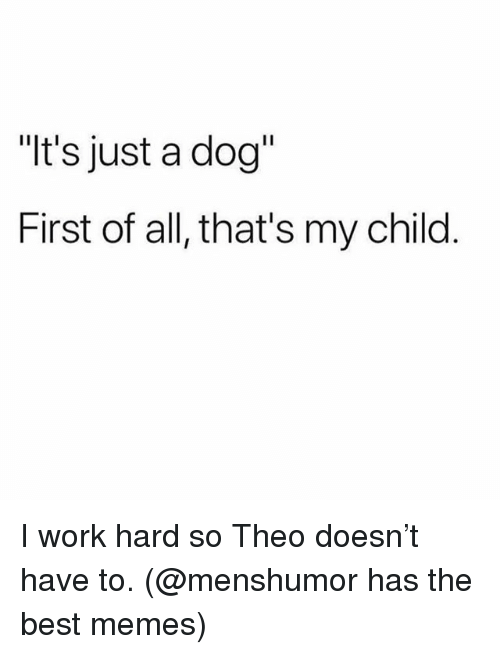 "Memes, Work, and Best: ""t's just a dog""  First of all, that's my child I work hard so Theo doesn't have to. (@menshumor has the best memes)"