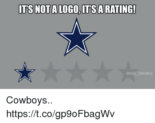 Dallas Cowboys, Football, and Memes: T'S NOT A LOGO,IT'SARATING!  @NFL MEMES Cowboys.. https://t.co/gp9oFbagWv