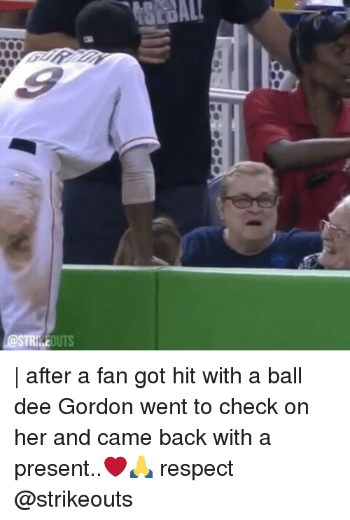 Dee Gordon: tSEBAL  @STRIKEOUTS | after a fan got hit with a ball dee Gordon went to check on her and came back with a present..❤🙏 respect @strikeouts