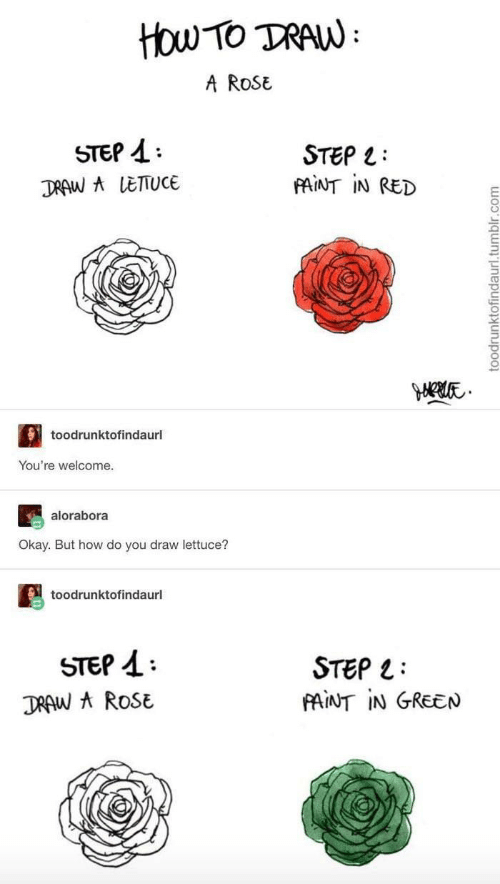 youre welcome: ttou Tο TAN:  A RoSE  STEP  STEP L  FAINT IN RED  DRAW A LETTUCE  toodrunktofindaurl  You're welcome.  alorabora  Okay. But how do you draw lettuce?  toodrunktofindaurl  STEP  STEP  FAINT IN GREEN  DRAW A ROSE  toodrunktofindaurl.tumblr.com