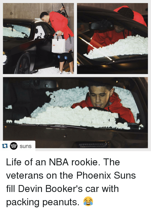 NBA: tu PHX  Suns Life of an NBA rookie. The veterans on the Phoenix Suns fill Devin Booker's car with packing peanuts. 😂