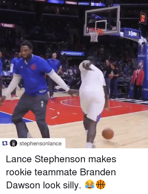 Lance Stephenson, Sports, and Branden Dawson: tua stephensonlance Lance Stephenson makes rookie teammate Branden Dawson look silly. 😂🏀