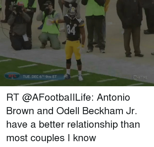 Memes, Odell Beckham Jr., and Browns: TUE. DEC 6TH 9pM ET RT @AFootbaIILife: Antonio Brown and Odell Beckham Jr. have a better relationship than most couples I know