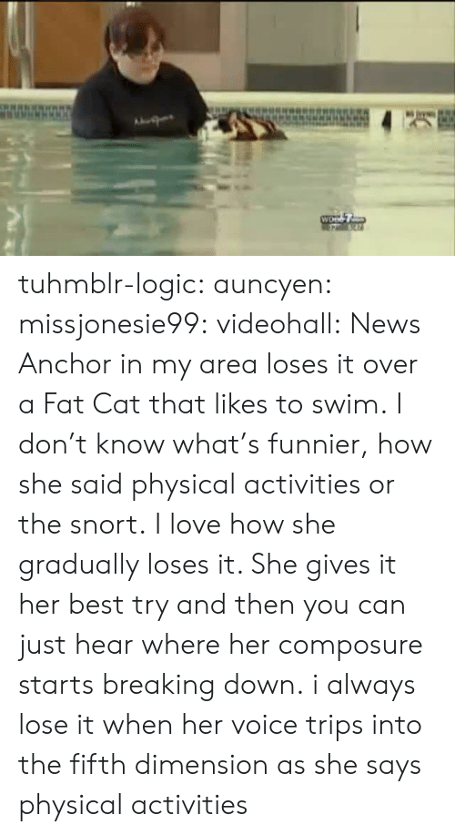 breaking down: tuhmblr-logic:  auncyen:  missjonesie99:  videohall:  News Anchor in my area loses it over a Fat Cat that likes to swim.  I don't know what's funnier, how she said physical activities or the snort.  I love how she gradually loses it.  She gives it her best try and then you can just hear where her composure starts breaking down.  i always lose it when her voice trips into the fifth dimension as she says physical activities