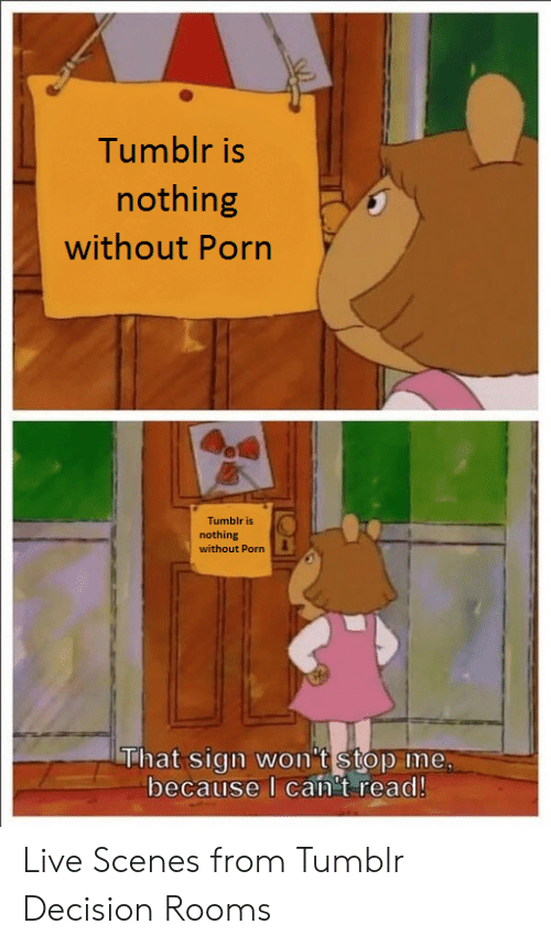 I Cant Read: Tumblr is  nothing  without Porn  Tumblr is  nothing  without Porn  hat Sign won t stop ime,  because I can't read! Live Scenes from Tumblr Decision Rooms