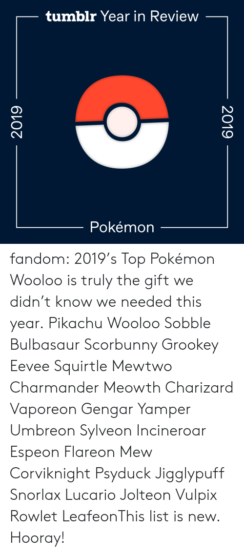 charizard: tumblr Year in Review  Pokémon  2019  2019 fandom:  2019's Top Pokémon  Wooloo is truly the gift we didn't know we needed this year.  Pikachu  Wooloo  Sobble  Bulbasaur  Scorbunny  Grookey  Eevee  Squirtle  Mewtwo  Charmander  Meowth  Charizard  Vaporeon  Gengar  Yamper  Umbreon  Sylveon  Incineroar  Espeon  Flareon  Mew  Corviknight  Psyduck  Jigglypuff  Snorlax  Lucario  Jolteon  Vulpix  Rowlet  LeafeonThis list is new. Hooray!