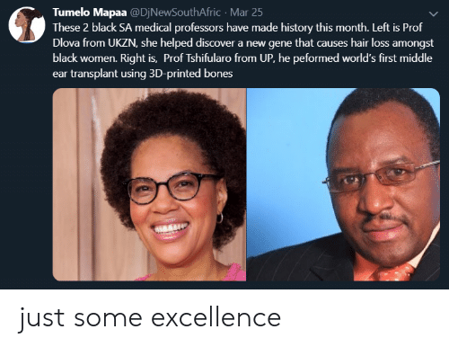 Excellence: Tumelo Mapaa @DjNewSouthAfric Mar 25  These 2 black SA medical professors have made history this month. Left is Prof  Dlova from UKZN, she helped discover a new gene that causes hair loss amongst  black women. Right is, Prof Tshifularo from UP, he peformed world's first middle  ear transplant using 3D-printed bones  ent be just some excellence