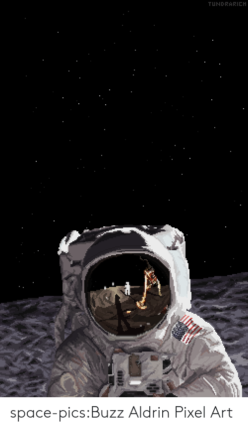pixel: TUNDRARICH space-pics:Buzz Aldrin Pixel Art